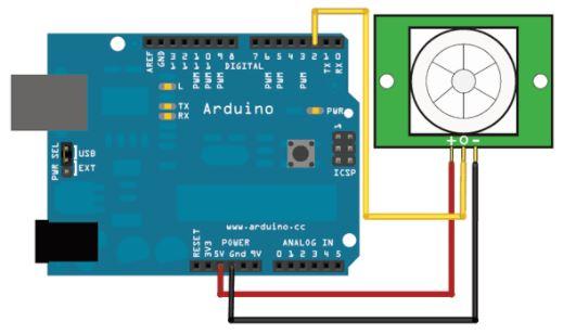 conexiones del sensor PIR con Arduino