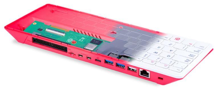 raspberry pi dentro de un teclado