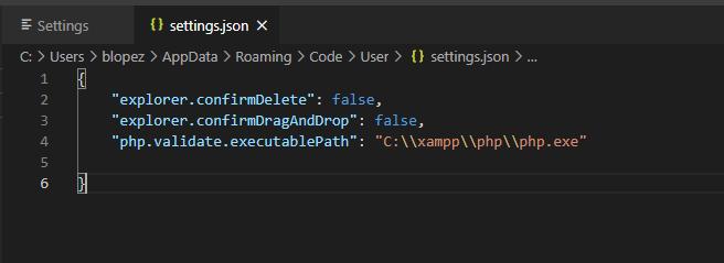 ruta de php en visual studio code