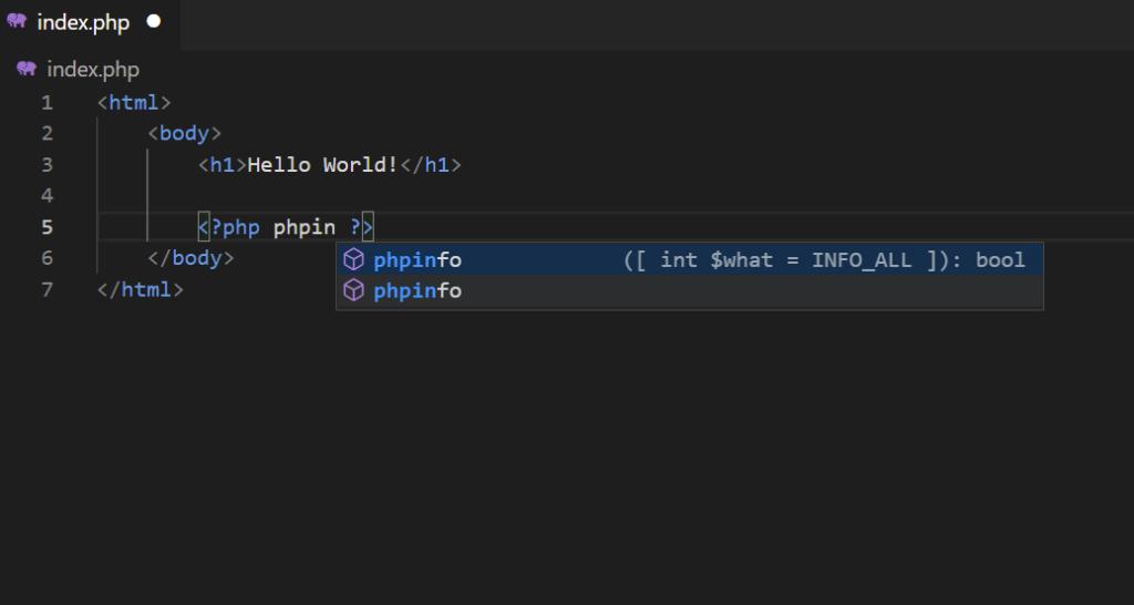 intellisense php en visual studio code